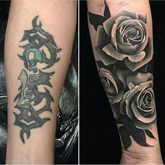 Arm cover up tattoos, rose tattoo cover up, black tattoo cover Arm Cover Up Tattoos, Flower Cover Up Tattoos, Rose Tattoo Cover Up, Black Tattoo Cover Up, Tattoo Sleeve Cover Up, Tribal Cover Up, Inside Of Arm Tattoo, Flower Tattoo Arm, Rose Tattoos For Men