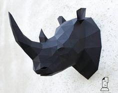 Papercraft rhino head - digital template