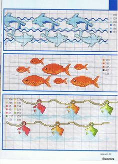 Goldfish and dolphins borders f Cross Stitch Sea, Cross Stitch Bookmarks, Cross Stitch Borders, Cross Stitch Charts, Cross Stitch Designs, Cross Stitching, Cross Stitch Patterns, Embroidery Sampler, Cross Stitch Embroidery