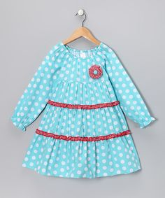 Take a look at this Aqua Polka Dot Tiered Dress - Toddler & Girls on zulily today!