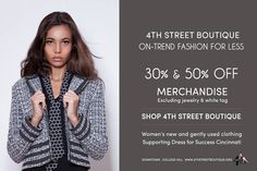 30% - 50% off merchandise including designer, leather and evening wear.