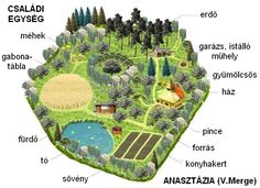 A typical design of a familydomain, like Anastasia describes to Vladimir Megre as the solution to lead humanity back to its original goal. Homestead Layout, Homestead Farm, Anastasia, Farm Layout, Farm Plans, Future Farms, Farm Gardens, Aquaponics, Garden Planning