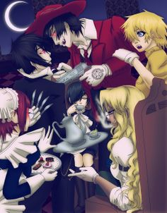 Phantomhive and Hellsing Tea Party! For the party themed contest over at I've wanted to make a Sebastian/Alucard crossover for awhile now. This pic took. Phantomhive and Hellsing - Tea Manga Art, Anime Manga, Anime Art, Awesome Anime, Anime Love, Hellsing Alucard, The Blues Brothers, Black Butler 3, Black Butler Kuroshitsuji