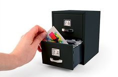 Miniature Filing Cabinet for Business Cards (or Recipes) | 31 Insanely Clever Products To Organize Your Whole Life