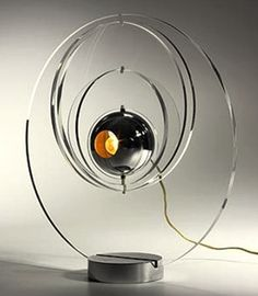 Yonel Lebovici - 'Satellite' table lamp, France, 1969, acrylic, chrome-plated steel