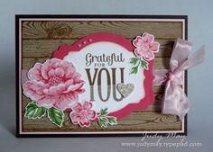 Hardwood background, Blushing Bride/Strawberry Slush blooms.