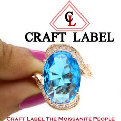 """4.00 Ct Oval Shape Blue Topaz 14 Gold Solitaire Bypass Engagement Ring """"Mother\'s Day Gift"""". Starting at $1"""