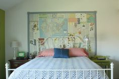 maps, dictionary pages, vintage buttons make for a cool headboard