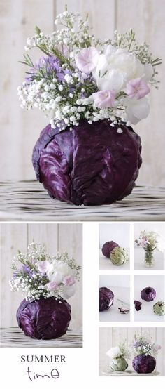 Purple Wedding Flowers DIY Purple Cabbage Flower Arrangement - Flowers are a beautiful creation of nature. In fact, even when they're not real, they still add a touch of decoration, color, even elegance sometimes to a room or event's venue. Cabbage Flowers, Purple Cabbage, Beautiful Flower Arrangements, Floral Arrangements, Beautiful Flowers, Table Arrangements, Easter Flower Arrangements, Simply Beautiful, Creative Flower Arrangements