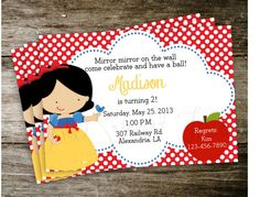 Snow White Polka Dot Disney Princess Birthday Party Invitation Digital Printable. $15.00, via Etsy.
