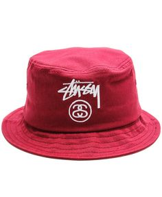 Stussy - Stock Lock Bucket Hat (Burgundy) - $28