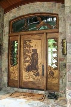 Carved Doors Wooden Ideas Wood Doors Are Warm and Welcoming Carved Doors Wooden Ideas. Custom wood doors, whether elegant or rustic, are a durable choice that can really set off the style of your h… Cool Doors, The Doors, Unique Doors, Windows And Doors, Wood Front Doors, Wooden Doors, Barn Doors, Slab Doors, Sliding Doors