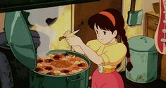 Top 20 food gifs from Ghibli Studios movies that will make you hungry, because with Miyazaki you devour with your eyes - Totoro, Princess Mononoke, Ponyo … you know these characters and have surely already seen an anim - Hayao Miyazaki, Castle In The Sky, Totoro, Studio Ghibli Films, She And Her Cat, Couple Manga, Couples Anime, Kiki Delivery, Film D'animation