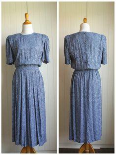 Vintage 80s Karin Stevens Blue Lavender Floral by TheRubyOlive, $35.00