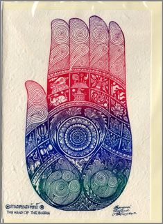 Thai traditional art Hand of Buddha by silkscreen printing on Mulberry paper Card on Etsy, $2.35 CAD