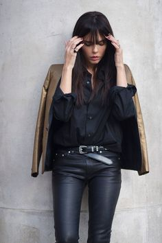 smoking & belt by Saint Laurent, leather pants by Acne