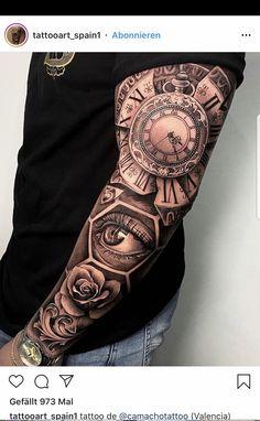 Tattoos Masculinas, Body Art Tattoos, Hand Tattoos, Clock Tattoo Sleeve, Best Sleeve Tattoos, Half Sleeve Tattoos Designs, Tattoos For Women Half Sleeve, Rosen Tattoo Mann, Rose Tattoo Black