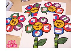 How to make fraction flowers to practice halves and fourths in first grade and thirds and eighths for grade and a lot of hands on fractions activities that make it so much more engaging! Fraction Activities, Math Games, Preschool Activities, Fraction Games, Reading Activities, 1st Grade Math, First Grade, Second Grade, Grade 1