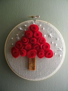 Red felt rosette Christmas tree hoop ornament