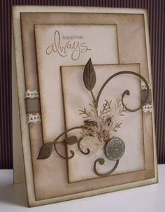 Stamping with Loll: Vintage Posey Stamps:  Whimsical Words (SU!) Paper:  White (card base); Swirly DP and Parchment DP (unknown); Very Vanilla, Soft Suede (SU!) Ink:  Soft Suede (SU!) Accessories & Tools:  Fanciful Flourish Die (Cheery Lynn); Pine Branch punch (McGill), Antique Brad, sponges, Crocheted Lace, Soft Suede Tafetta ribbon, hole punch, sticky strips, adhesives, glue, and dimensionals