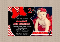 Red Chevron Minnie Mouse Birthday Party Photo by Honeyprint, $15.00