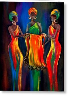 The Scarf Greeting Card by Marietjie Henning