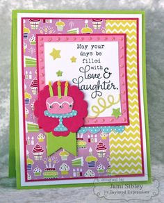 Love and Laughter Card by Jami Sibley #Cardmaking, #LittleBitsDies, #Birthday