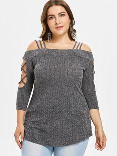 5da74dc5005eb Plus Size Three Quarter Sleeve Women Knitted T-Shirt Top