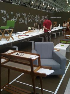 Illustrated mural concept...Furniture Exhibition *I like the white outline on a black board.