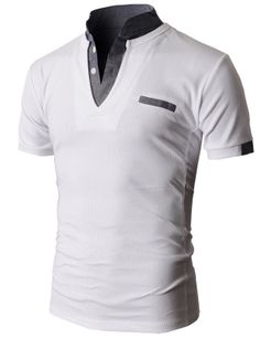 Doublju Men's Unique Hybrid Fashion Polo Shirts with Short Sleeve. Love the color trim! Polo Shirt Style, Mens Polo T Shirts, Tee Shirts, Camisa Polo, Golf Fashion, Mens Fashion, Mens Attire, Summer Shirts, Gentleman Style