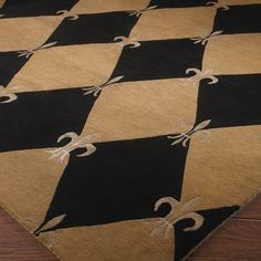 Harlequin Rug with French fleur de lis--charming