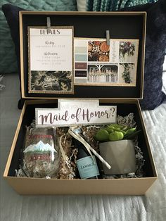 Mountain Wedding in CO.  Bridesmaid proposal box.