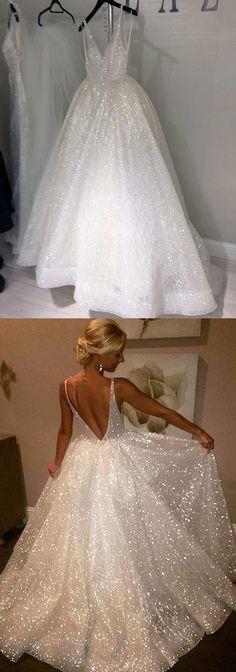 Elegant white tulle backless long A-line evening dress, white spring prom dress #prom #dress #promdress