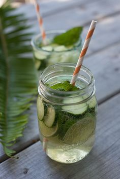 Cucumber Sangria: cucumber, honeydew, lime, honey, white wine, mint, soda water | Erin Gleeson (of The Forest Feast) for BHG