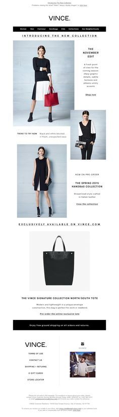 Email Design // Vince - Introducing The New Collection