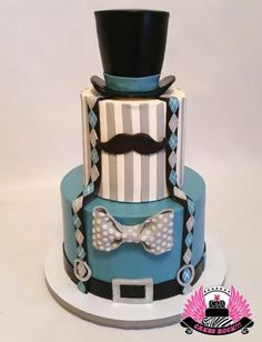 I really enjoyed this super cute boy's first birthday cake. My husband even commented on it (& he's like, cake-immune he sees so many!), & he said it would be an awesome groom's cake too. The design is matched to the colors & design of. Cakes For Men, Just Cakes, Cupcakes, Cupcake Cakes, Moustache Cake, Dad Cake, New Year's Cake, Fathers Day Cake, Gateaux Cake