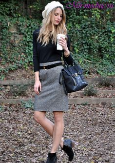 3a4d64ad52b191 Серая юбка с чем носить фото Grey Pencil Skirt