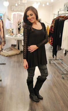 Dottie Couture Boutique - Lace Trim Tunic- Black, $46.00 (http://www.dottiecouture.com/lace-trim-tunic-black/)