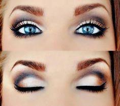 Smokey Eye Makeup Tutorial For Blue Eyes Plus Brown Eyebrows Idea ...