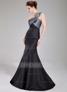 Prom Dresses - $136.99 - Mermaid One-Shoulder Floor-Length Taffeta Prom Dress With Ruffle Beading (018005107) http://jjshouse.com/Mermaid-One-Shoulder-Floor-Length-Taffeta-Prom-Dress-With-Ruffle-Beading-018005107-g5107