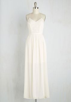 Lithe-Minded Dress in Ivory. With one peek at this ivory maxi dress, all your besties will agree you look so beautifully you! #white #modcloth