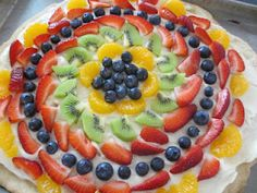 Fruit pizza with cream cheese frosting... yum!