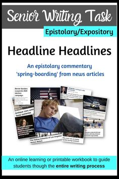 My latest senior writing task!  Epistolary writing requiring responses to news, feature or opinion articles found in the media, this is the perfect resource to send your senior English students online.  Clearly unpacked achievement criteria, time-management checkpoints, concisely explained teaching points, exemplars, hyperlinks to external websites and more make this a complete package.  Available as a Google and PDF resource.  Send it out to your students knowing every aspect is sorted! English Writing, Teaching English, Opinion Piece, Teacher Hacks, Learning Resources, Critical Thinking, Time Management, Distance, Google