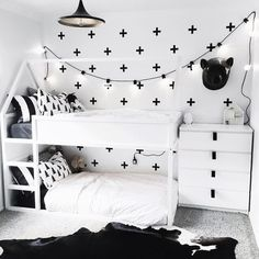 """40 Likes, 9 Comments - Bex☽ McLennan (@machouseblanc) on Instagram: """"Toddler beds give way to big boy bunks  • • • • #nordicdesign #urbanwalldecals #ikeahack…"""""""