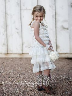 Ivory Rustic Lace Tutu Girl   Country Style Gown