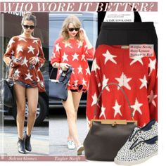 Who Wore It Better: Selena Gomez Vs.Taylor Swift in Wildfox Seeing Stars Lennon Sweater?