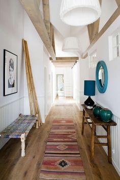 nice mix of ethnic & rustic, blue mirror.