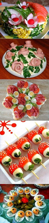 Salades de décoration et pâtés