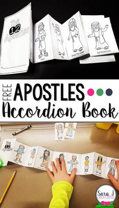 Learning about the 12 Apostles   To help my students learn about the 12 Apostles of Jesus I created a mini accordion book. On each page they glued the picture and name of each apostle until we had all 12 included. We gave some facts about each Apostle and then listened to a cute song to help with learning the names.  Download your free Apostles Accordion Book now.  3-5 accordion book apostles bible Bible story catholic Catholic Printable Christian faith based learning faith formation mini…