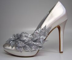 Custom Wedding Shoes - Ivory Stilettos with rhinestone flower